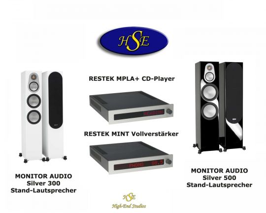 RESTEK MPLA + MINT mit MONITOR AUDIO Silver 300 High-End System
